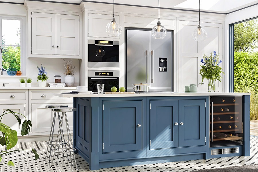 Kitchen with white and blue features | Kitchen U