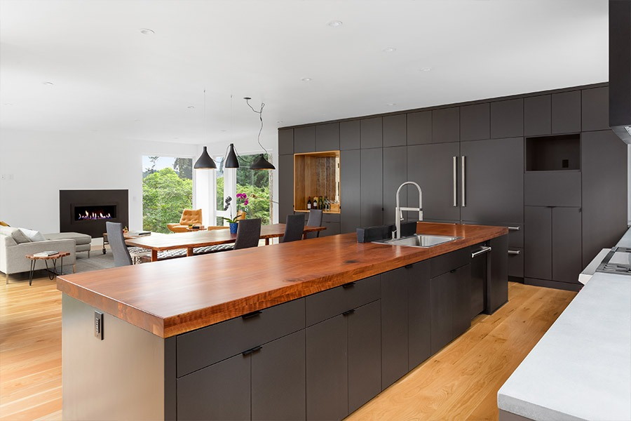 Image of kitchen bench with timber features