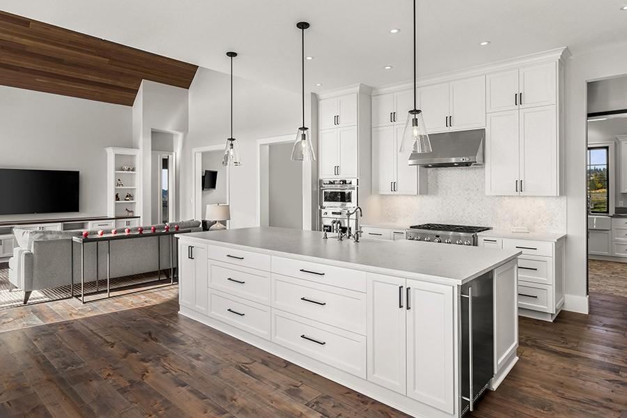 Spacious, White and Modern Kitchen