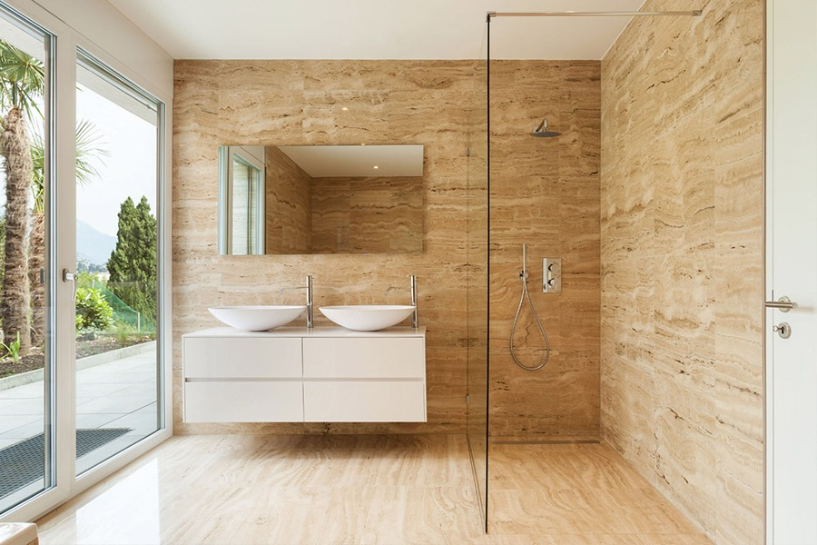 Modern Bathroom with 2 Sinks and timber floors | Kitchen U