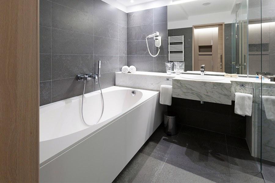 Image of modern bathroom and nice bath
