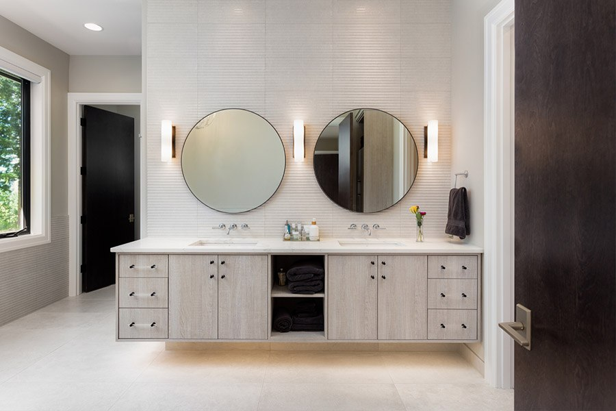 Image of bathroom with 2 mirrors