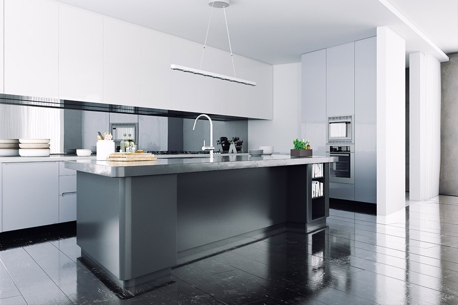 Modern Kitchen with gray and white decoration | Kitchen U