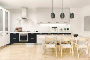 White Kitchen with Black features | Kitchen U